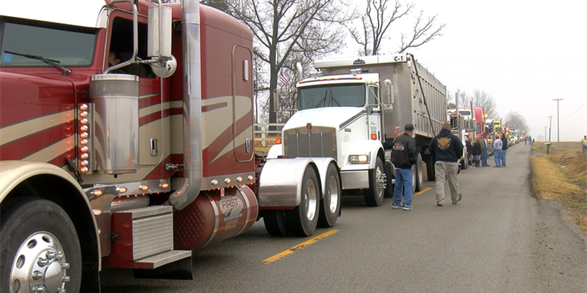 Truck convoy gathers for boy killed in house fire