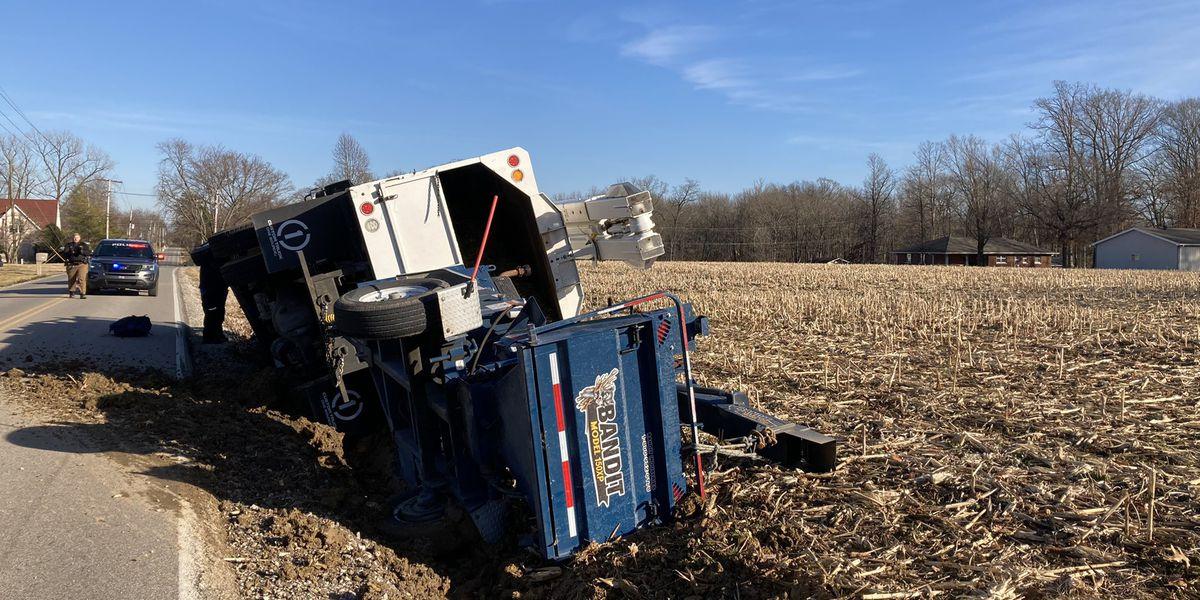 Work truck overturned in Warrick Co. crash