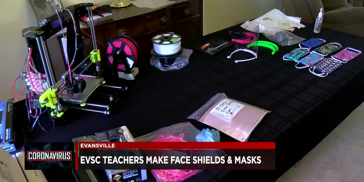 EVSC employees working to make face shields, masks