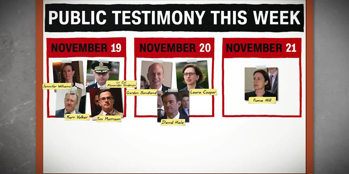 Eight witnesses to testify in impeachment hearings this week