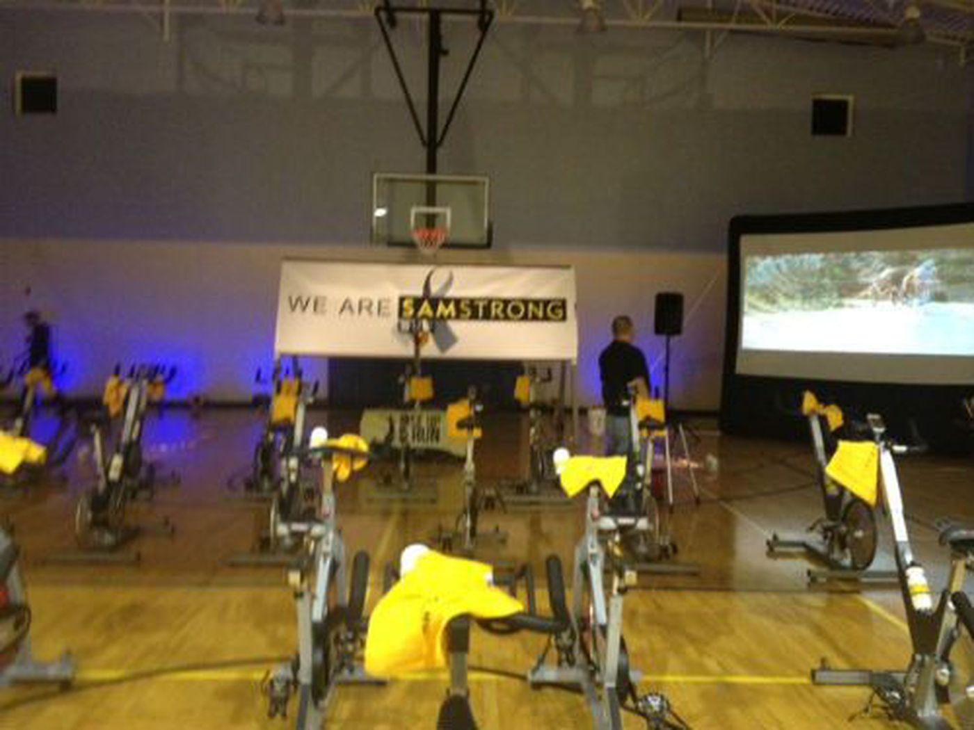 Ridestrong' for Samstrong at Bob's Gym