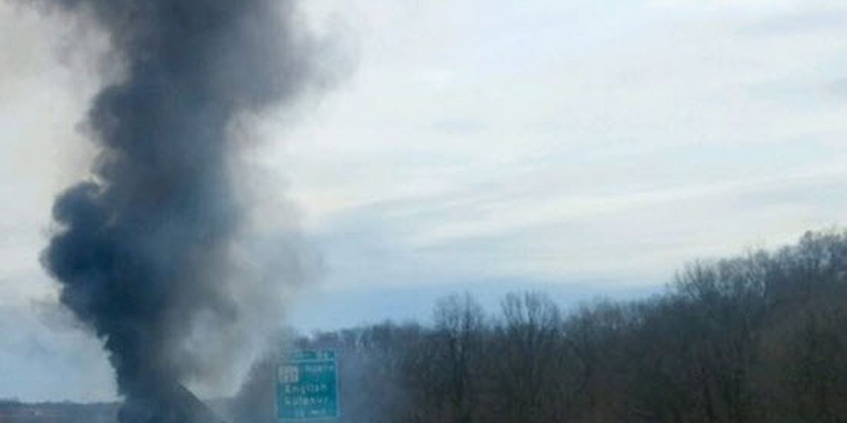 Semi hauling Ragu tomato sauce catches fire causing I-64 section to close