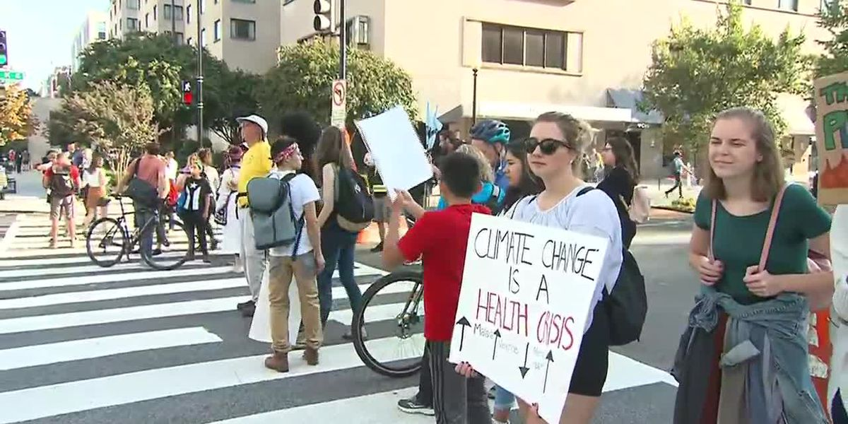 Climate protests blocks streets in Washington D.C.