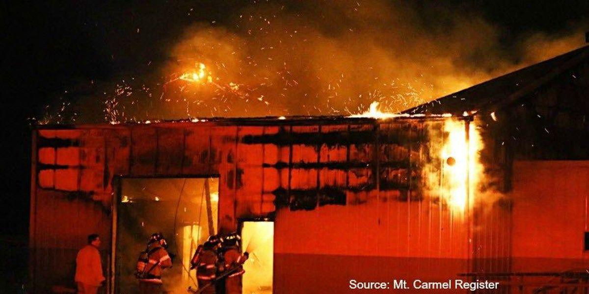 Fire rips through storage building in Mt. Carmel