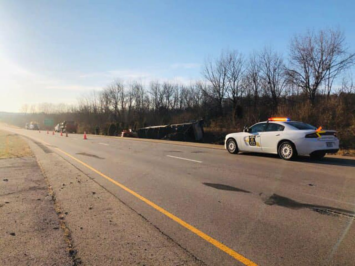 Semi crash shuts down section of WB I-64