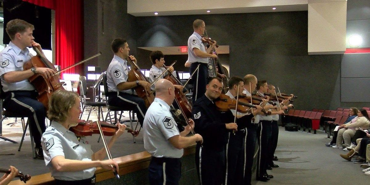 Air Force Strings plays for Harrison HS students