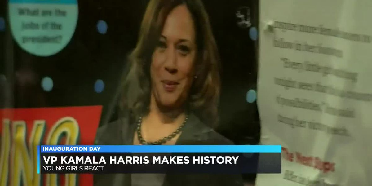 Young girls inspired as Kamala Harris takes historic oath as vice president
