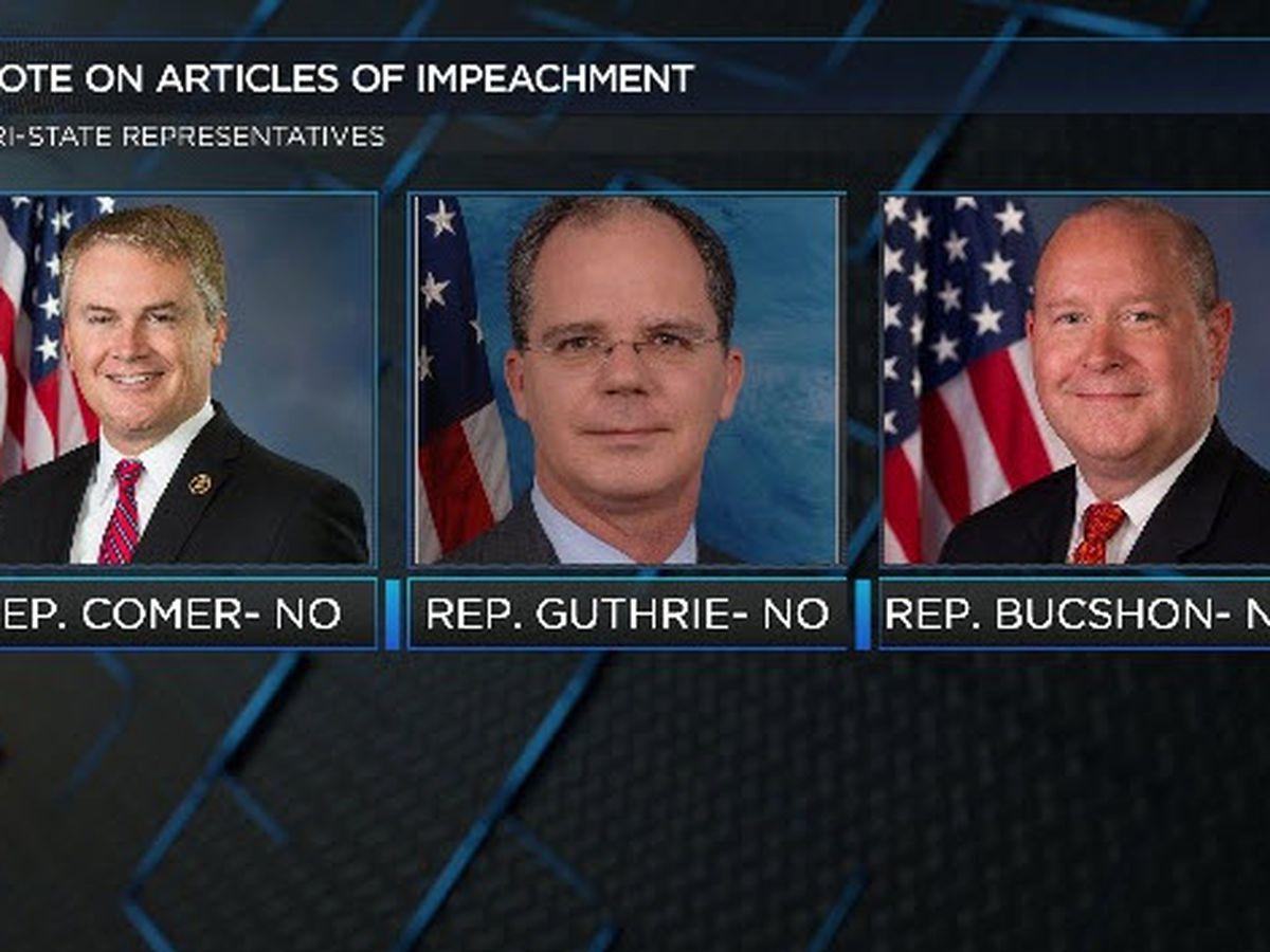 Several Tri-State representatives vote against President Trump impeachment