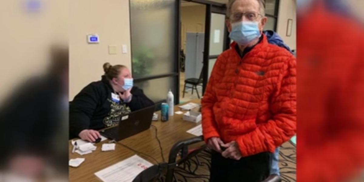 100-year-old hospital volunteer receives COVID-19 vaccine in Evansville