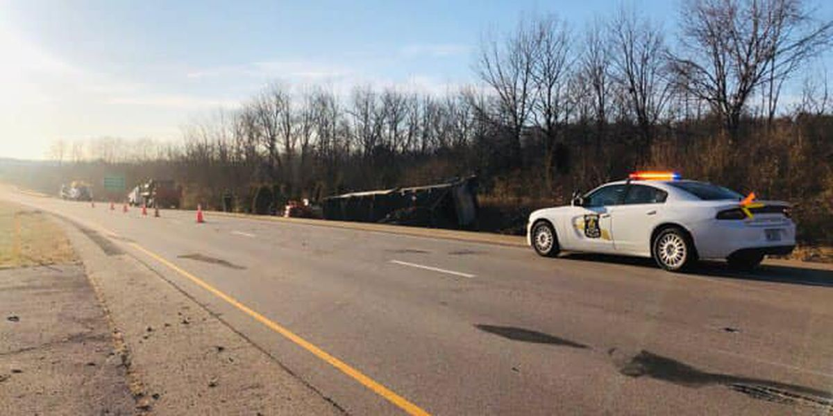 Semi crash shuts down section of WB I-64