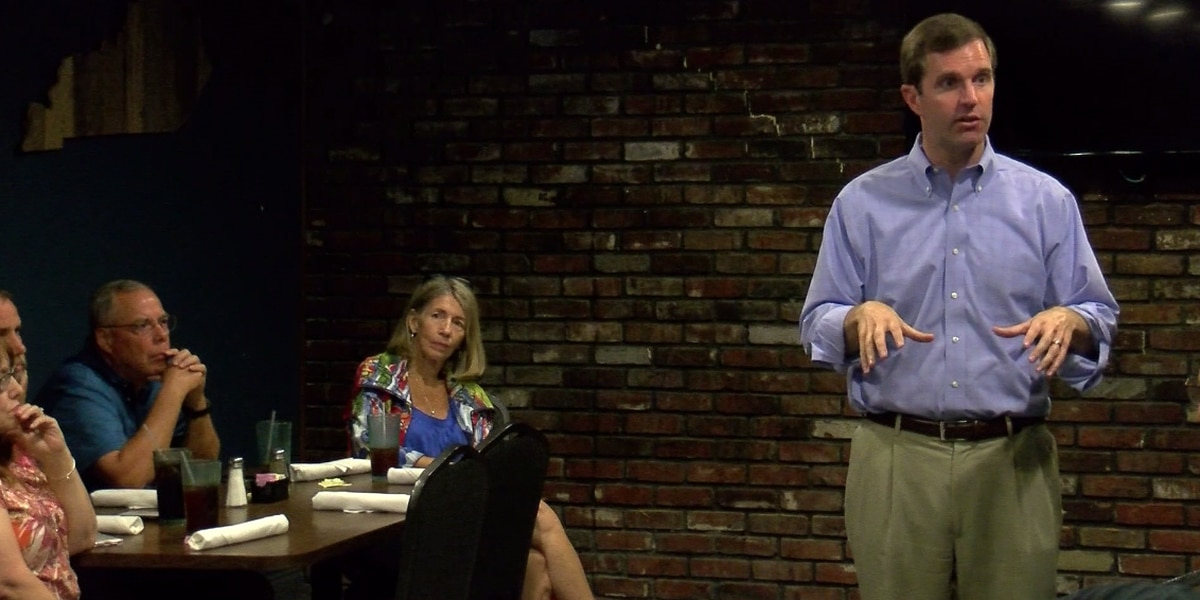 Dem. KY Gov. candidate Beshear talks with teachers in Henderson