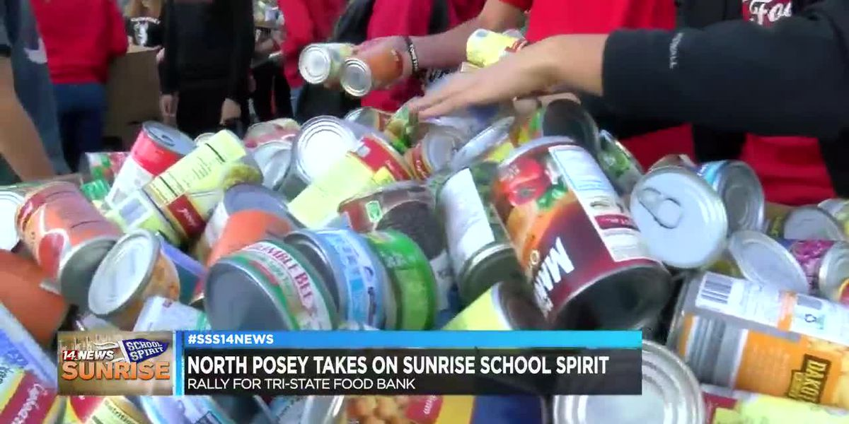 North Posey brings their Sunrise School Spirit with huge food donation